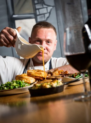 Chef Michael Slade serves Sunday roast with all the trimmings at his Thornbury restaurant Northern Git.
