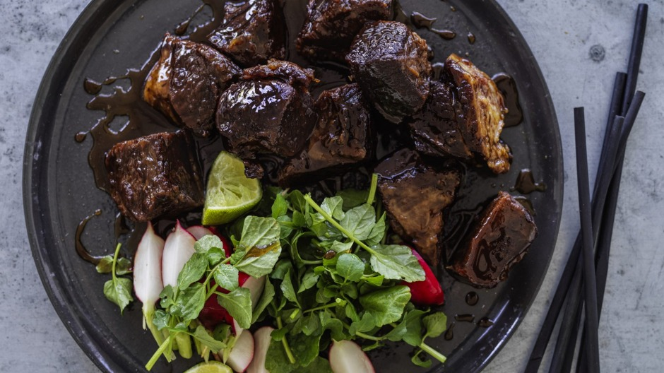 Caramelised beef brisket with a fresh and piquant salad.