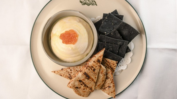 Whipped cod roe with charcoal crackers and roti-like bread.