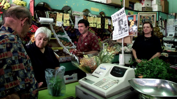 Frank and Mary Bonfante (right) on deck at the fruit shop in 2000.