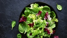 Dress a green salad just before serving to avoid limp leaves.