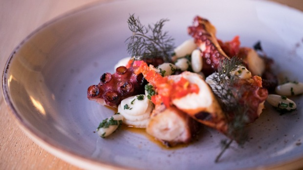 'Polpo' – charred, grilled octopus with white bean puree and 'nduja crumbs.