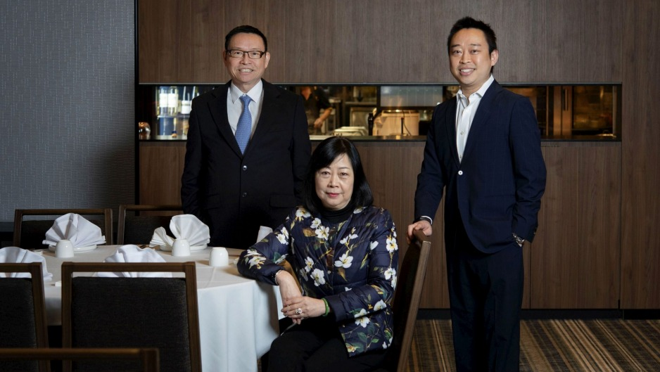 Owners Eric and Linda Wong, and son Billy, in the  Wine Bank room at Golden Century Seafood Restaurant in 2019.