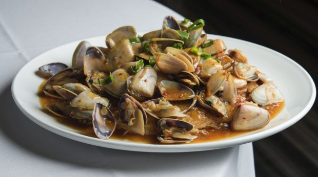SYDNEY, AUSTRALIA, GOODFOOD:  Signature pipis and XO sauce at Golden Century Seafood Restaurant on 03 JUNE , 2018 in Sydney, Australia.  (Photo by Christopher Pearce/SMH)