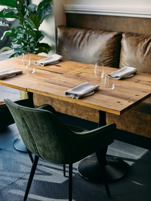 Natural materials such as leather, marble and timber are a feature of Omnia's interior.