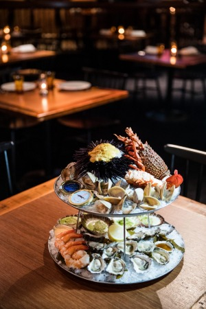 The seafood tower at Mary's Underground.