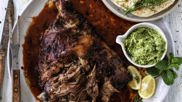 Whole roast lamb shoulder with Sichuan sauce.