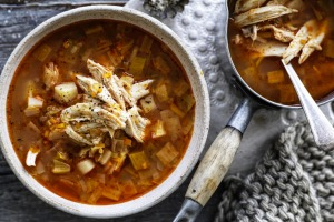 Whole chicken and vegetable soup.