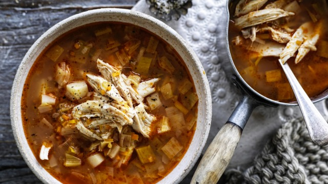 This simple chicken and vegie soup uses a whole chicken.