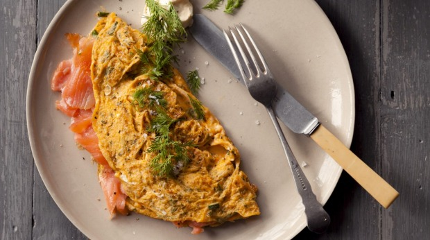 SALMON OMELETTE. Jill Dupleix TEN RECIPES YOU SHOULD MASTER feature for Epicure and Good Living. Photographed by Marina Oliphant.