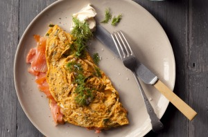 Jill Dupleix's classic omelette with smoked salmon and creme fraiche.