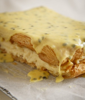 Vanilla custard slice with passionfruit icing