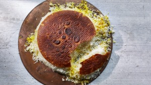 Persian rice with bread (or tortilla) crust.