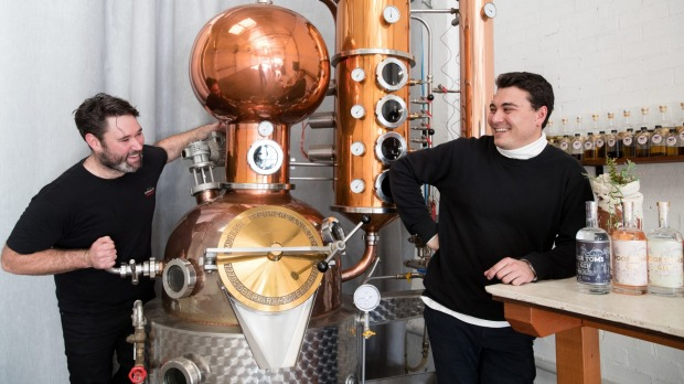 Poor Toms co-owners Jesse Kennedy (left) and Griffin Blumer at their gin distillery in Marrickville, Sydney.