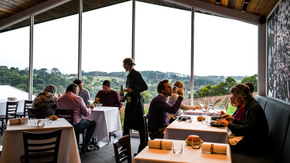 The dining room at Paringa Estate looks over the vines.