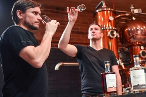 Matt Argus and Dave Irwin, co-owners of Brunswick's Patient Wolf Distilling Co.