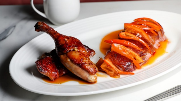 Go-to dish: Tathra Place half rotisserie duck with persimmon.