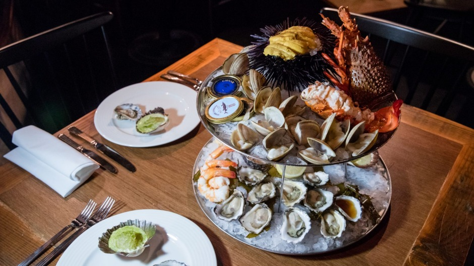 Extravagant menu: The ornate seafood tower.