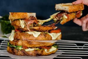 It's all about the cheese pull: Loaded caprese toasted sandwiches.