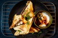 Ma po tofu jaffles with mayonnaise and chilli.