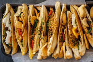Carbo-loading: Fried rice-filled jaffles.