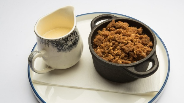 Go-to dish: Apple crumble and custard.