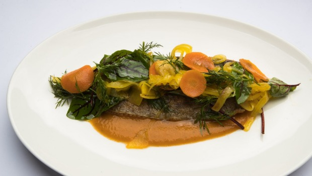 Rainbow trout with saffron vegetable escabeche.