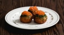 Tarama buns with trout roe and dill.