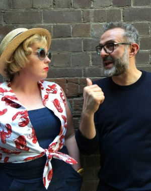 Good Food Guide editor Myffy Rigby and Osteria Francescana chef Massimo Bottura.
