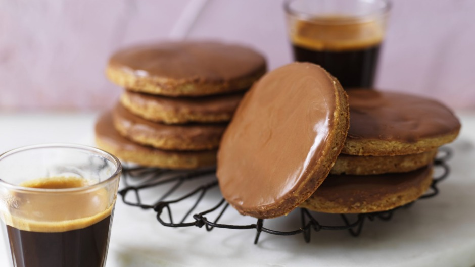 Choc-dipped digestive biscuits.