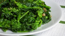 Related to the turnip family: Italian-style rapini sauteed in olive oil and garlic.