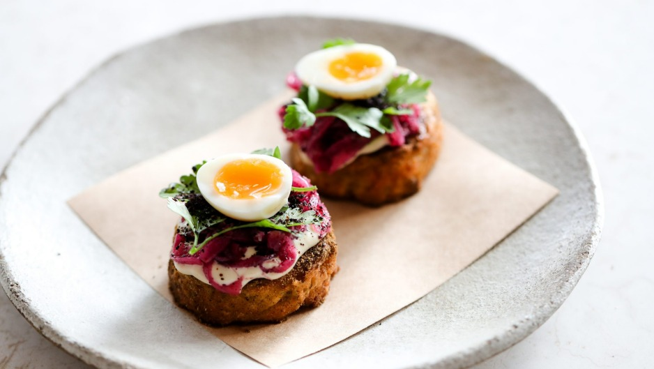 Go-to dish: Falafel crumpet with parsley and quail egg.