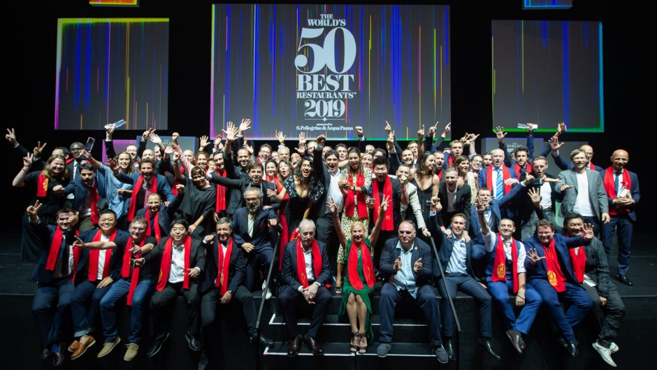 Chefs at the World's 50 Best ceremony held at Marina Bay Sands in Singapore.