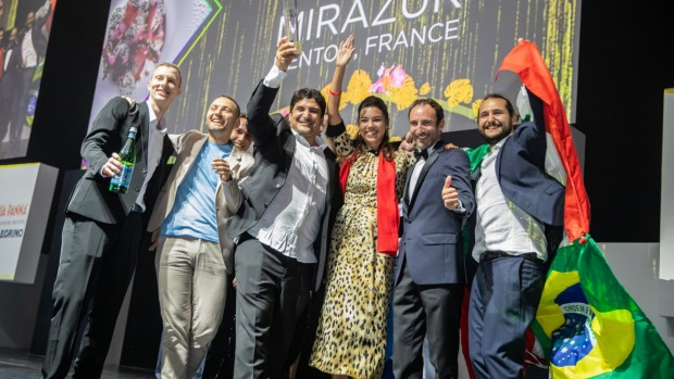 The team from Mirazur on stage in Singapore.