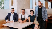 The Elektra team: (from left) Joey Commerford, executive chef Reuben Davis, Vanessa Crichton and George Calombaris.