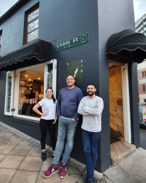 Consultant chef Tomislav Martinovic (centre) with owners Emily Calabro and brother Ben.