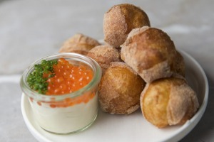 Doughnuts with sour cream and salmon roe.