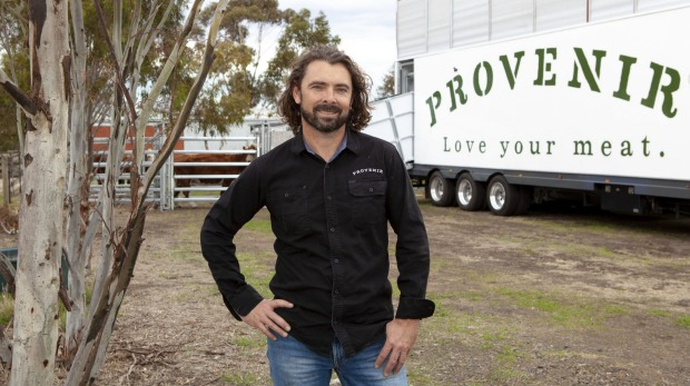 Farmer and ProvenirCEO Chris Balazs with the company'smobile processing unit.