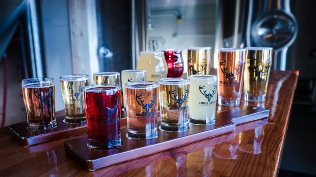 A flight of ciders from Double Shovel Cider Co, Anchorage.
