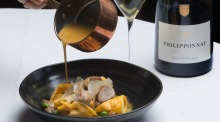 Rabbit tortellini paired with champagne at Masani in Carlton.