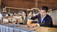 Bar staff at Sydney's Quay restaurant serve up some of their non-alcoholic cocktails.