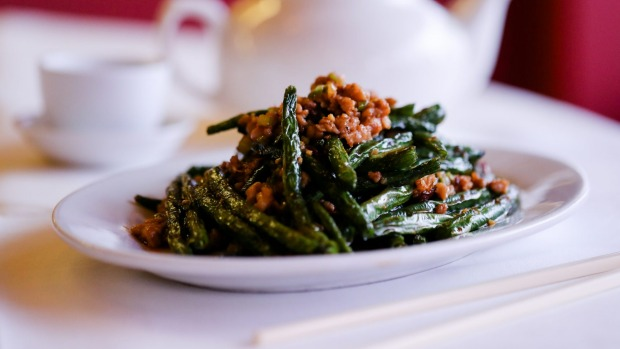 Temptress spring beans braised in ginger and bolstered by pork mince and dried shrimp.