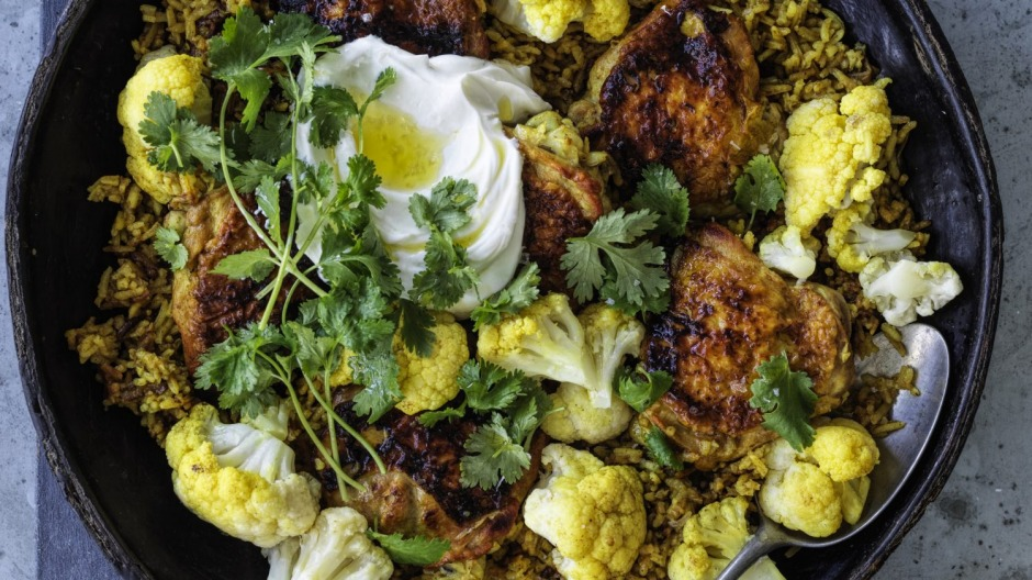 Curried rice with chicken and cauliflower.