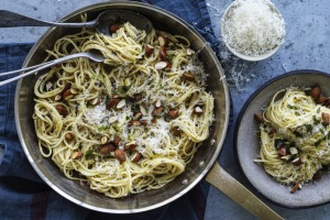 Speedy lemon spaghetti with toasted almonds.