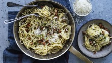 Danielle Alvarez's pantry pasta with lemon, cream, oregano and almonds.