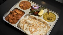 Roti with a selection of Sri Lankan curries.