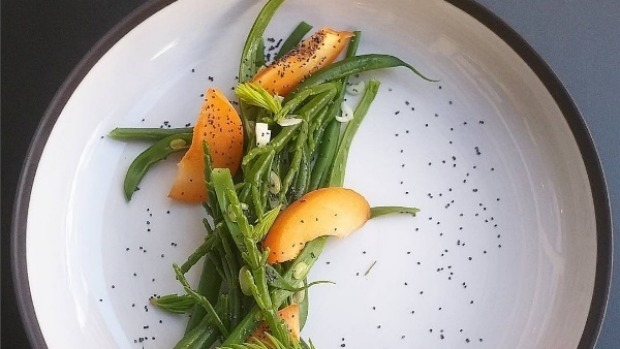 Green beans with samphire, apricot, poppy seed and spring onion at Le Kitchen Cafe.