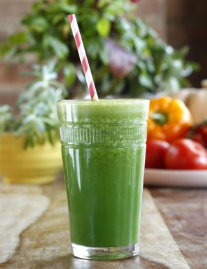 It takes seconds to make a green smoothie for breakfast.