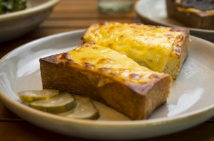 Grilled cheese on a doorstop-thick slice of shokupan.