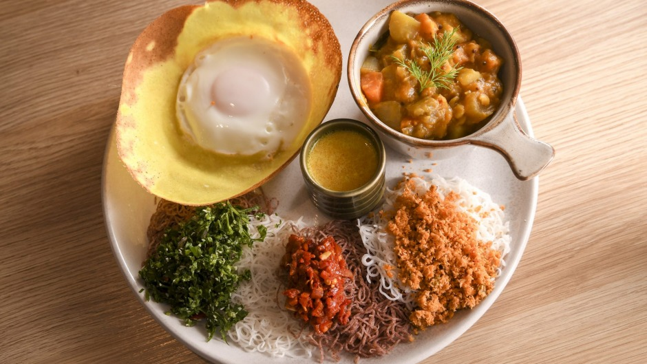 Hip Hopper: a brunchy tasting plate featuring an egg hopper, string hopper, curry (fish, chicken or veg) and condiments.